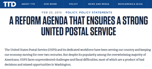 TTD's 2015 labor agenda continues support for USPS