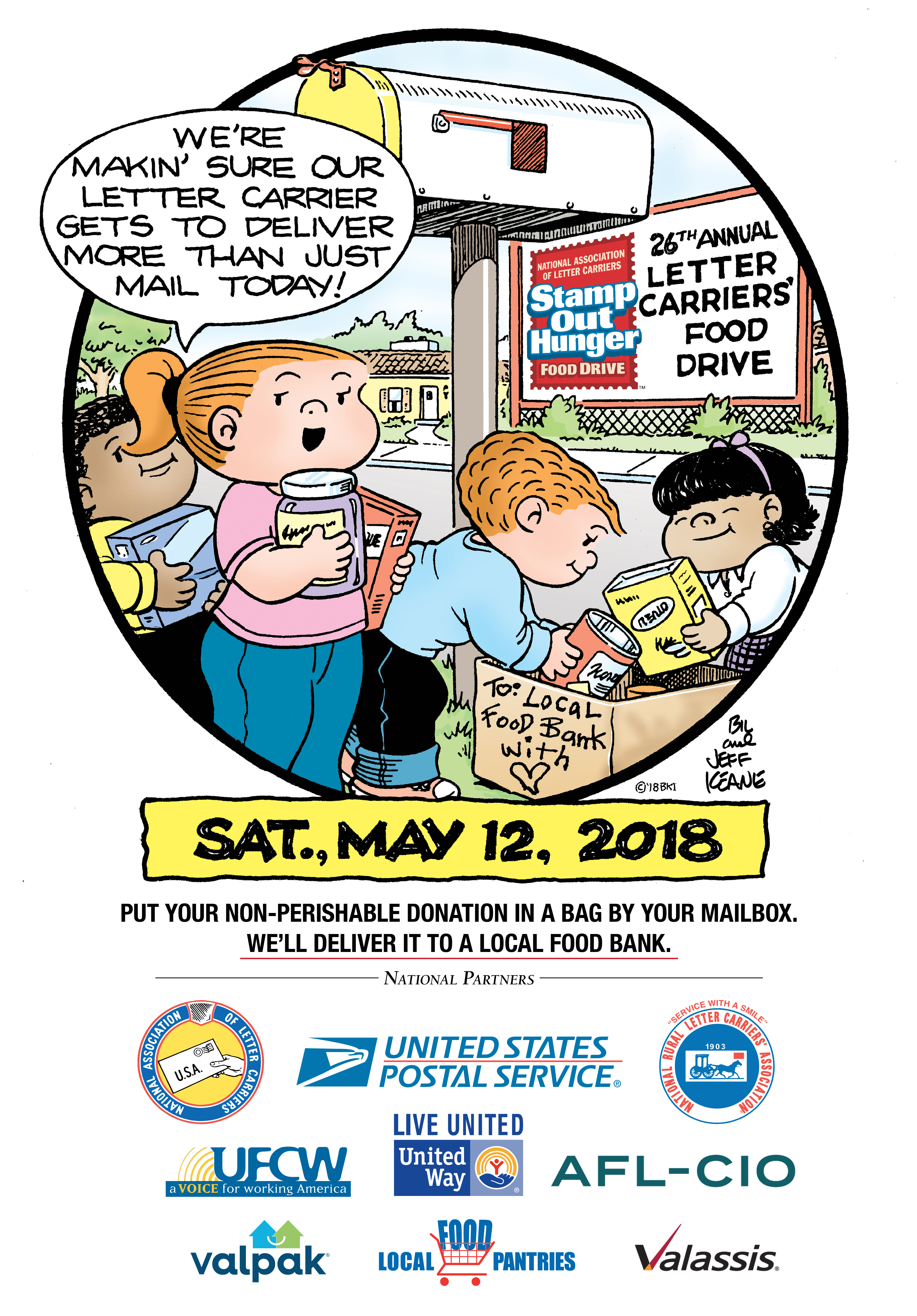 circus comic strip has generously donated a cartoon to be used by nalc branches to help promote the 2018 letter carriers stamp out hunger food drive