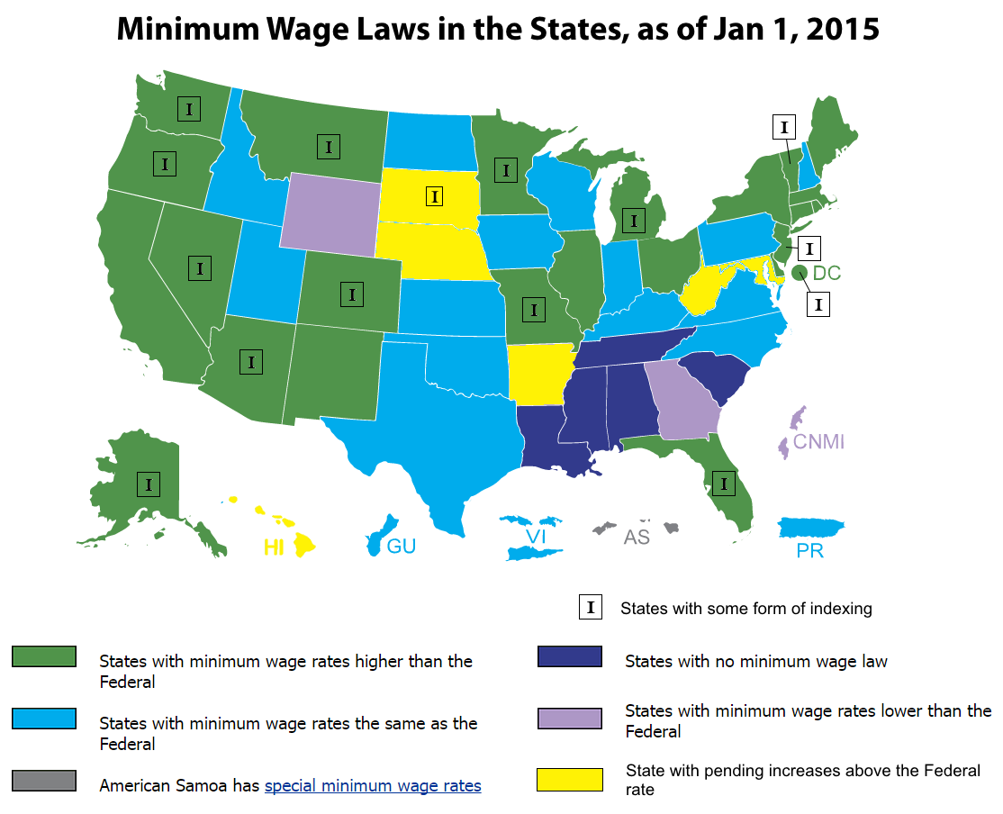 minimum wage in the united states Minimum wage laws in the states use the legend on the left to highlight  different mw categories, and click on any state to learn about applicable  minimum.