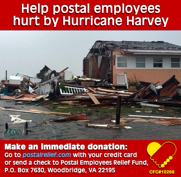 Help postal employees hurt by Hurricane Harvey