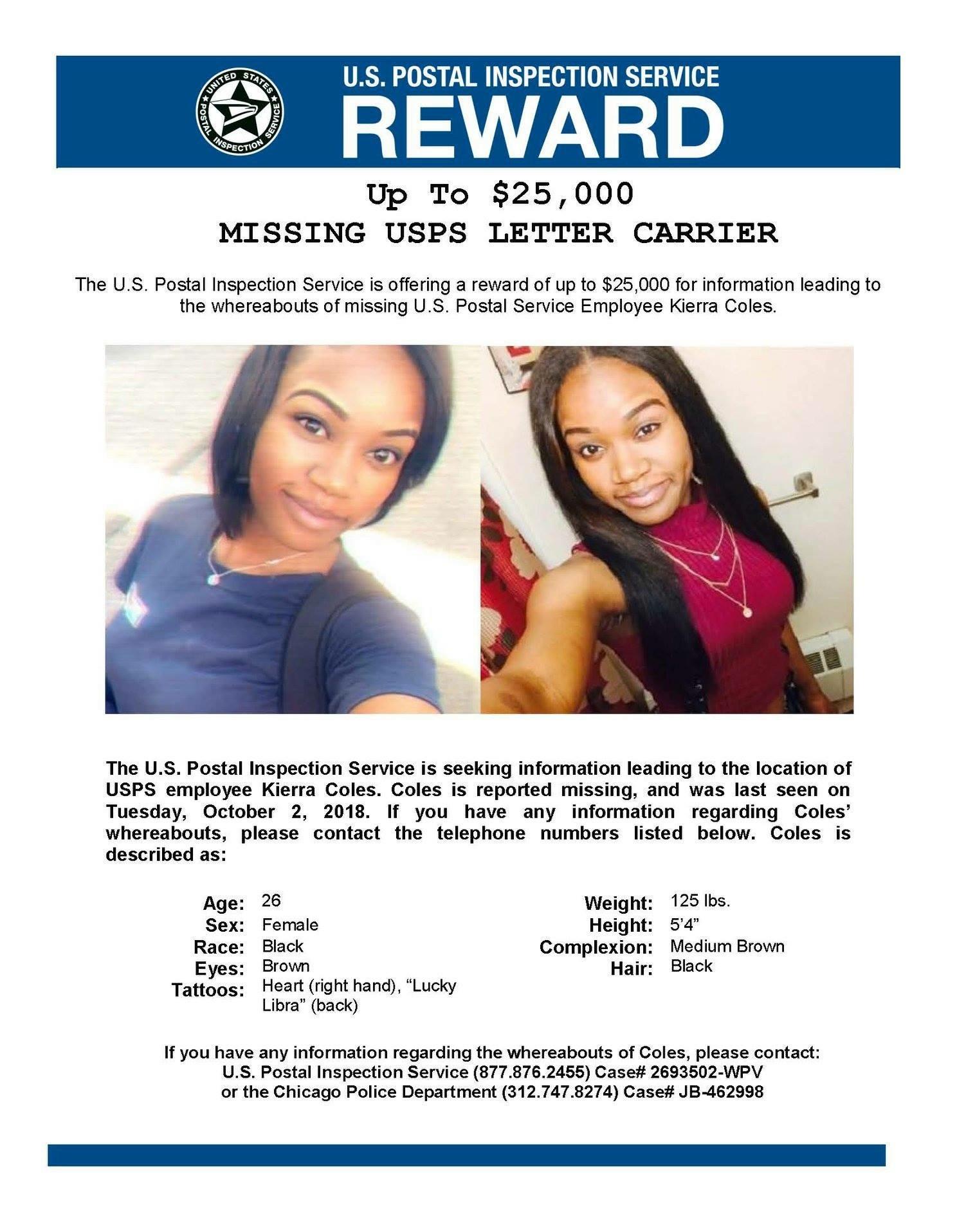 Missing: Letter Carrier Kierra Coles 27 y/o Female